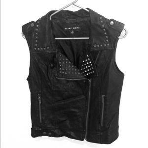 Black Noir faux leather vest M